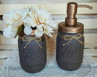 Rustic Bathroom/Kitchen Decor - Painted Mason Jars - 2 pc Mason Jar Sets - Shabby Chic - Country  - Soap/Lotion  Dispenser - Flower Vase