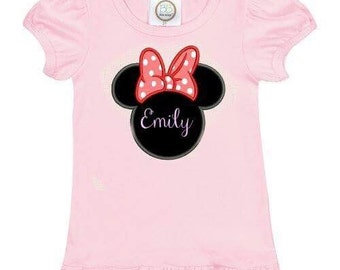 Miss Mouse & Princess Castle themed tshirt EMBROIDERED
