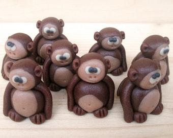 Marzipan Monkeys (8) - 3D fondant monkeys - monkey cake toppers - monkey cupcake topper - 3D monkey cake decorations - edible monkey candy