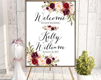 Welcome To Our Wedding, Winter Welcome Wedding Sign, Burgundy Welcome Sign, Marsala, Welcome Sign, Printable Welcome Sign, Winter Wedding