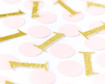 Pink and gold 1 confetti. 50 units. Gold glitter confetti. First birthday party. 1st birthday girl. Silver glitter. Royal blue, mint, purple