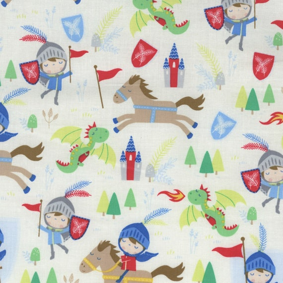 Knights boy medieval cotton fabric by the yard from for Boys cotton fabric