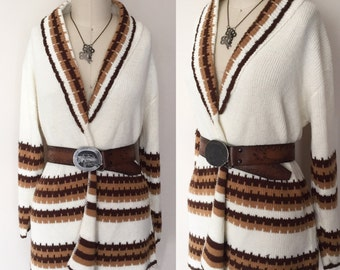 Amazing vintage 1970's chocolate and buttercream knit wrap sweater - OSV0006