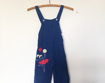 Sweet Vintage Blue Corduroy Overalls with a Ballerina and Her Bouquet of Balloons Size 2t 3t - OSVKC0020