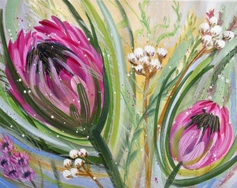 Cape Proteas. Original Abstract Painting. Modern Art. Contemporary Acrylic Painting. Floral Art. Flowers. Green, Pink, Blue, Yellow Wall Art