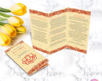 Hindu Wedding Program, Indian Wedding Ceremony Program, Printable Wedding Program in Red and Gold, Tri Fold Brochure | ARIA HTF1