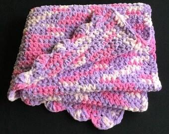 Crochet Baby Blanket, Baby Girl Shower Gift, Super Bulky Baby Blanket, Handmade Chenille Baby Blanket, Pink, Purple, FREE SHIPPING
