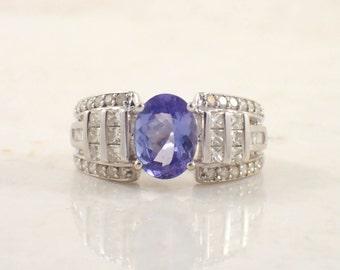 18K White Gold Tanzanite and Diamond Ring, Vintage Ring, Tanzanite Ring