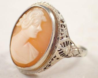 Art Deco 14K White Gold Cameo Ring