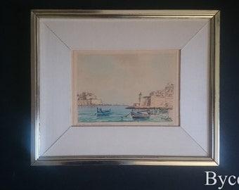 Joseph Galea Entrance of grand Harbour Malta original watercolour signed mid 20th century