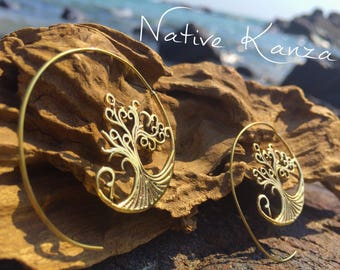 NEW Tree of Life Brass Tribal Spiral Earrings,Brass Earrings, Spiral Earrings, Tribal Earrings, Gypsy Earrings, Bohemian,Festival Jewellery,