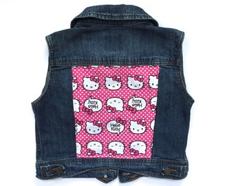 Girls' Hello Kitty Denim Vest (5/6)   custom denim   hello kitty   girls denim vest   jean vest