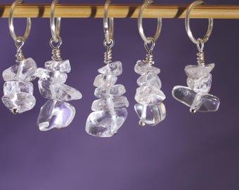 Rock Crystal Knitting or Crochet Stitch Marker Set, Gemstones, Gift for Knitters, Knitting Tools, April Birthstone, Crochet Tools