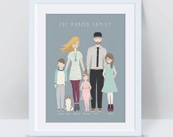 Custom Family Portrait, Anniversary Gifts for Men Family Portrait Illustration Custom Illustrated Family Portrait Baby Shower Gift