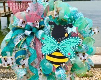 Spring wreath for front door, Spring wreath, Summer wreath for front door, Summer wreath, Bee wreath, Bee decor, Bee decoration