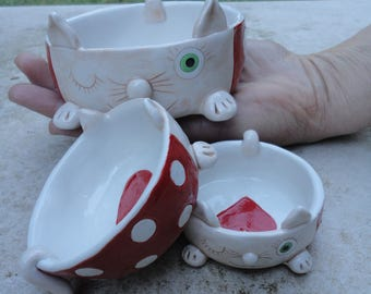 Set of three ceramic bowls- Cat ceramic bowls- Handmade