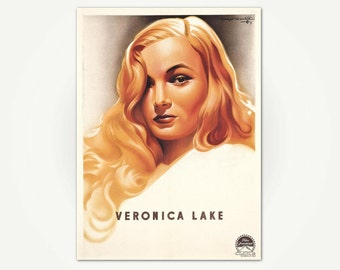 Veronica Lake Vintage French Publicity Poster Print
