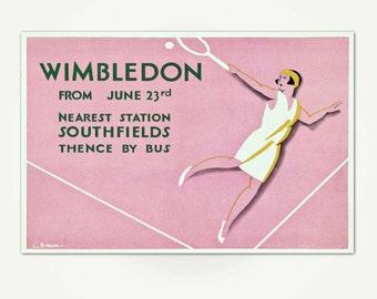Wimbledon England Tennis Poster Art - London Transport Wimbledon Print - Vintage Tennis Print