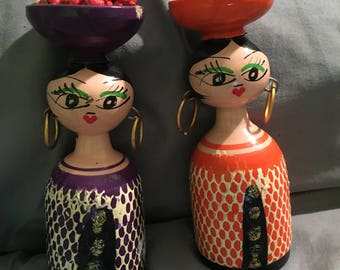 Vintage Mid-Century Modern Wooden Chicano Art Dolls