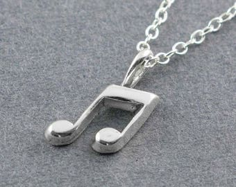 Music Note Charm, Music Note Necklace, Silver Music Note