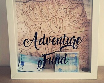 Adventure Fund, Adventure Fund Box, Travel Fund, Travel Money Box, Money Box, Savings, Holiday Fund, Personalised, Drop Box, Box Frame, Map