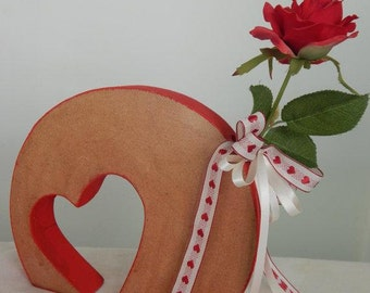 Wooden heart flower holder small