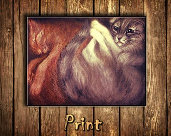 Cat print\cat in box\cat art print\pet portrait\cute cat\room decor\cat lover gift\poster\illustration\for cat lovers\cat gifts\tabby cat