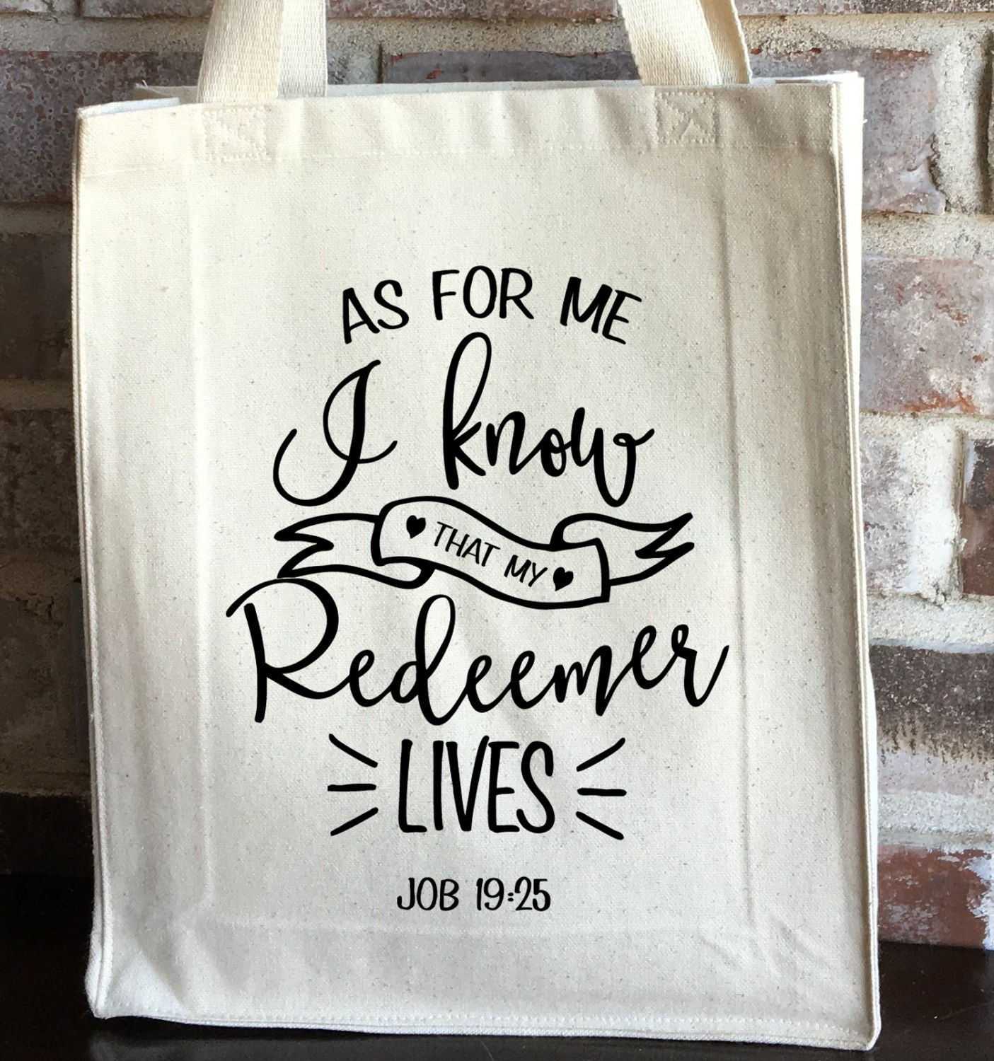 Bible bag my redeemer lives bible tote bag easter gift zoom negle Image collections
