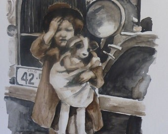 young girl with a goat doll - original water color painting from a photograph by figurative artist Anita Dewitt