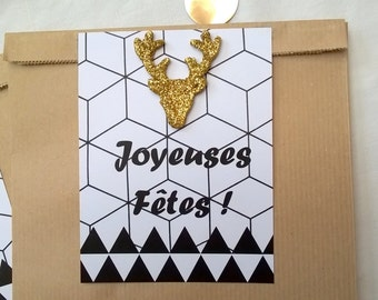 2 bags kraft gift tags graphic black and white, Golden deer, 25 x 16