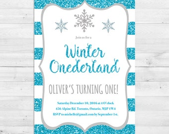 Winter Onederland Invitation, First Birthday Invitation Boy, Blue And Grey,  Silver, Snowflake, First Birthday