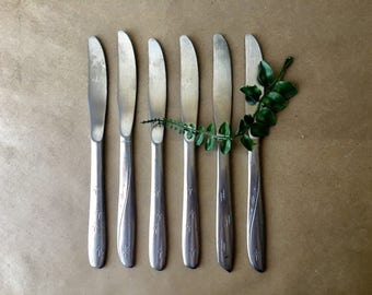 Set of 6 Vintage Stainless Steel Oneida Knife Set - Atomic Mid Century Knives - Servingware - Flatware - Kitchen Cutlery