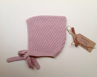 READY TO SHIP - Baby Pixie Bonnet hat 100% cashmere  color Antique rose hand knit,  size 3-4 years