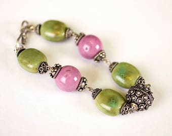 Ceramic and Bali beads bracelet
