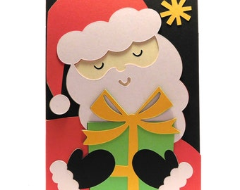 Christmas card Santa with gift