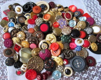 Lot of Vintage Buttons     ~ Vintage Mixed Button Lot ~ Scrapbooking ~ Jewelry Making ,  Rhinestone Buttons.