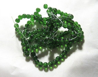 1 Strand 6mm Transparent Spray Painted Glass Beads Green (B101d4)