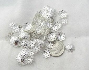 200 Silver Tone Filigree Bead Caps 9mm (s16e)