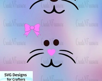 Easter Bunny Face SVG, DXF.Cutting file for Cricut design space and Silhouette Cameo. Easter Rabbit, Bunny Face.