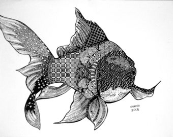 GOLDFISH (rare animal illustration with patterns, black ink, fish) print