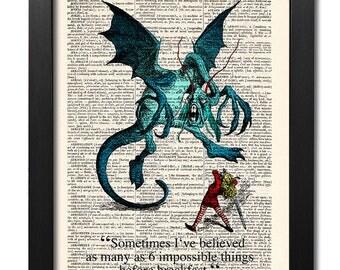 Alice in Wonderland, Jabberwocky, Quote print, Vintage book art print, Dictionary art print, Wall Decor, Gift poster, dorm decor [ART 020]