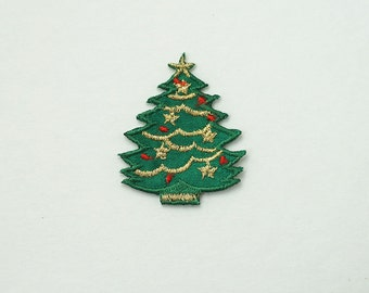 1 Inch Green Small Christmas Tree Embroidered Sew Iron on Patch Applique