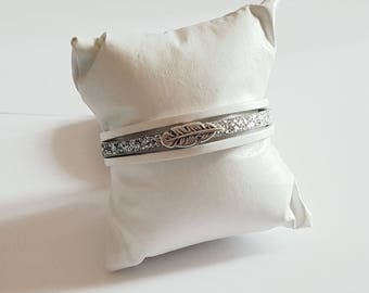 Feather white and gray leather Cuff Bracelet