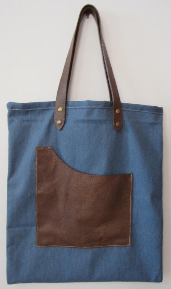 Denim Tote Bag, School Bag, Gift for Her
