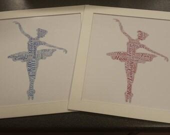Ballet Dancer Print, Dancer Word Art, Dance Word Cloud, Dancer Themed Gift, Ballet Word Collage, ballet dancer, ballet gift, ballet art.
