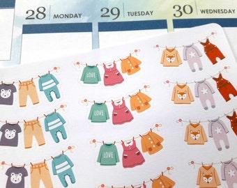 Laundry stickers, washing line planner stickers, chores & housework stickers for Erin Condren, Filofax, Kikki K, Happy Planner etc.