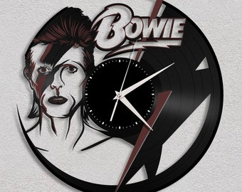 David Bowie Clock, Ziggy Stardust, Aladdin Sane, Gift, David Bowie Art, Unique Gift Idea, Record Art, Home Decor, Retro Celebrity Art
