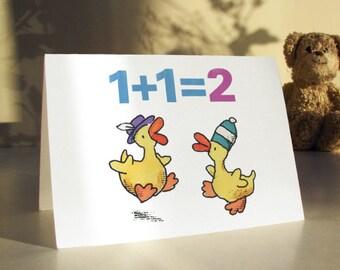 2 LITTLE DUCKS - 2 year old birthday card, 2nd birthday card, second birthday card, card for aged 2 years
