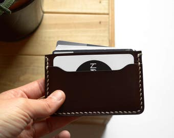 Leather cardholder, DARK CHOCOLATE  |  Leather Card wallet  |  Slim leather wallet
