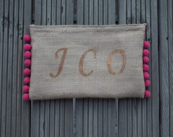 monogrammed bag, monogrammed beach pouch, personalised jute clutch, bridesmaid gift, monogrammed and customised cosmetic bag,